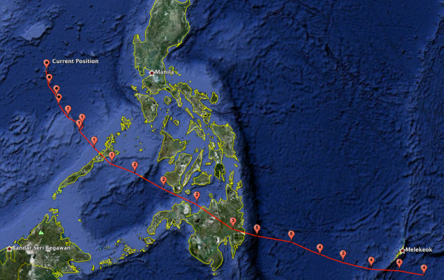 Map of Bopha/Pablo's Track across Palau and the Southern Philippines into the South China Sea.