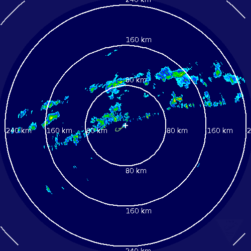 Showers associated with a weak cold front approaching Bermuda as seen on Bermuda Weather Service Radar Imagery, December 6th 2012 at 2:13pm local time.