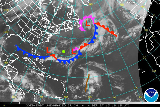 My rough partial analysis of the North Atlantic this afternoon with low pressure centers marked as red 'L's. Cold fronts marked by blue lines with flags. Warm fronts marked by red lines with scallops. Occluded fronts marked by purple lines with both scallops and flags. A tropical wave is marked by a brown line. Finally, Bermuda is marked by a green dot.